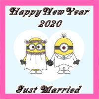 年賀状結婚報告写真なし 2020年ミニオンズ風イラストの無料テンプレート