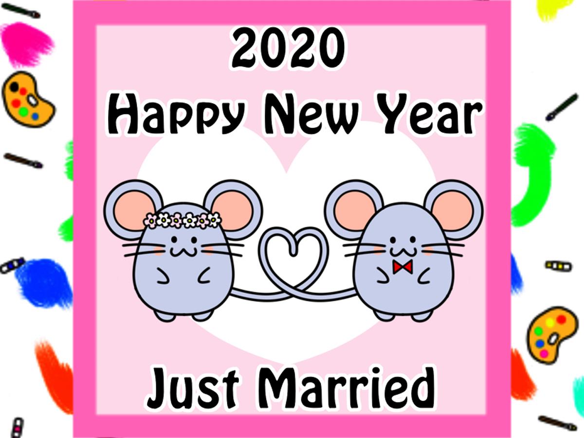 2020年 年賀状結婚報告 写真なしねずみイラストの無料テンプレート