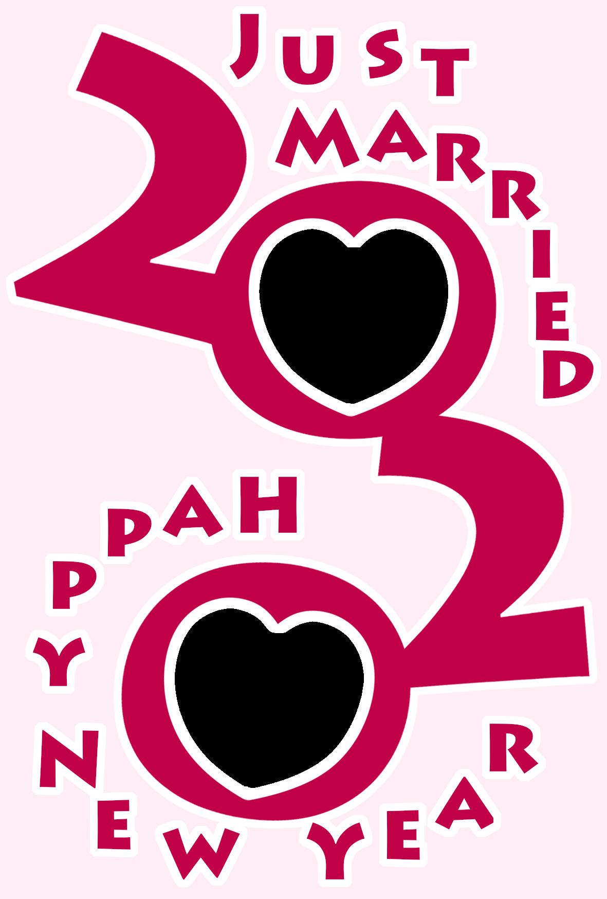 2020年 年賀状 令和2年結婚報告 写真フレーム 縦書き