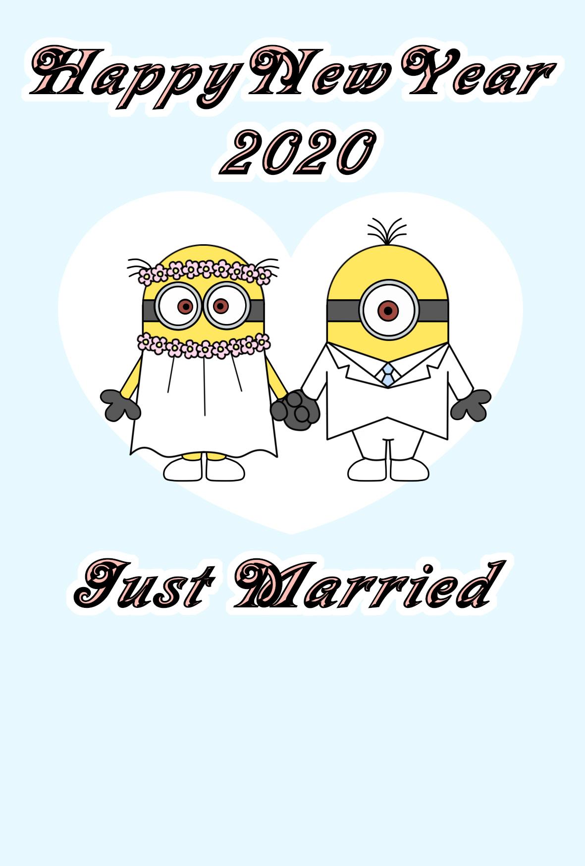 2020年 年賀状 令和2年結婚報告 ミニオンズ 縦書き