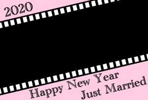 2020年 年賀状 令和2年結婚報告 フィルム型写真フレーム 横書き