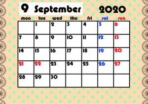 2020年月間カレンダー ガーリーデザイン 月曜始まり9月