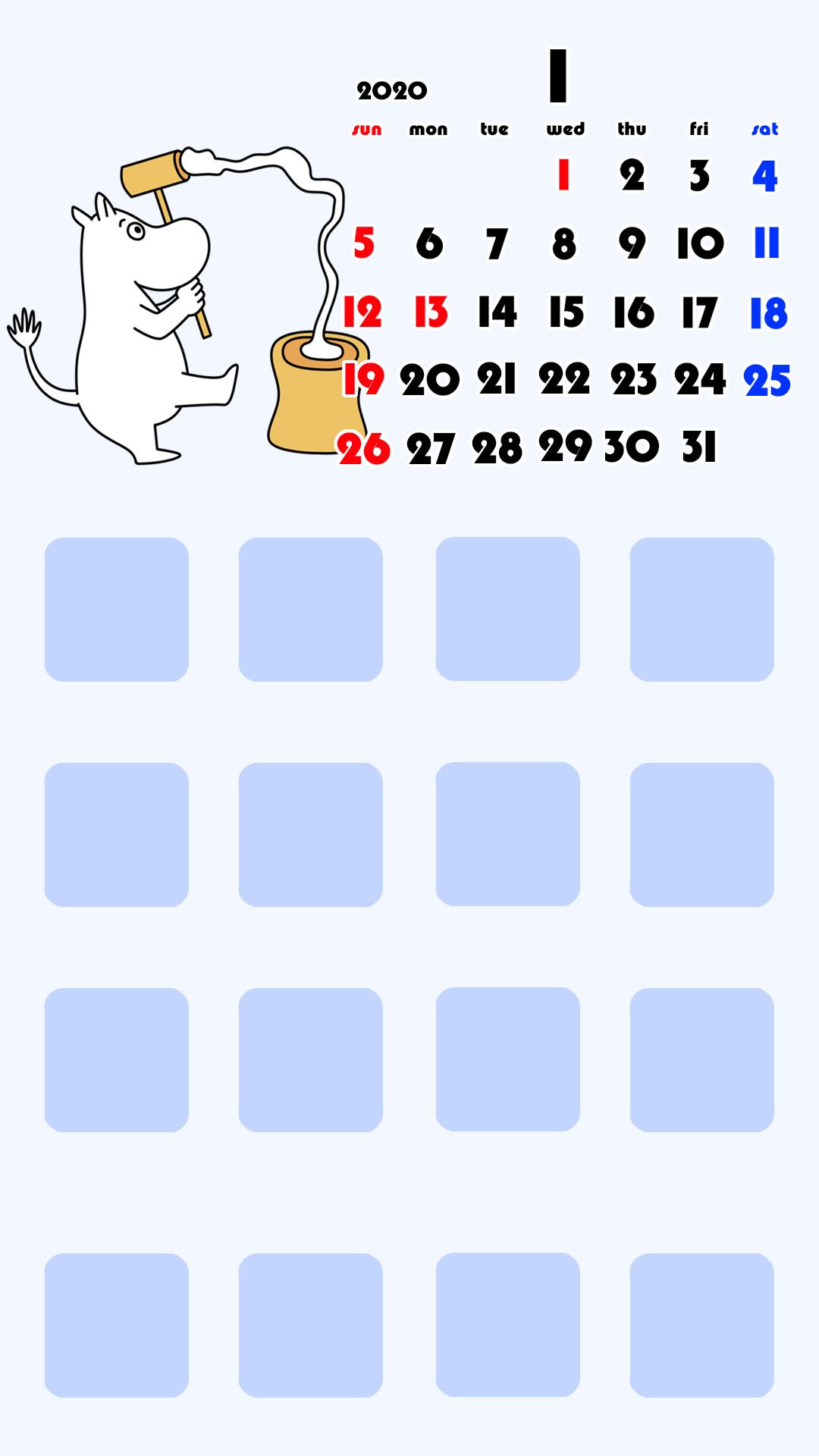 待ち受けカレンダー スマホ壁紙 ムーミン iPhone用 日曜始まり