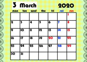 2020年月間カレンダー ガーリーデザイン 月曜始まり3月