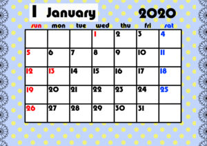 2020年月間カレンダー ガーリーデザイン 日曜始まり1月