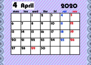 2020年月間カレンダー ガーリーデザイン 月曜始まり4月