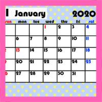 令和2年 ガーリー月間カレンダー 日曜始まり 無料ダウンロード・印刷
