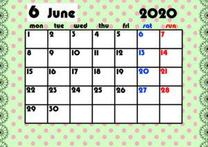2020年月間カレンダー ガーリーデザイン 月曜始まり6月