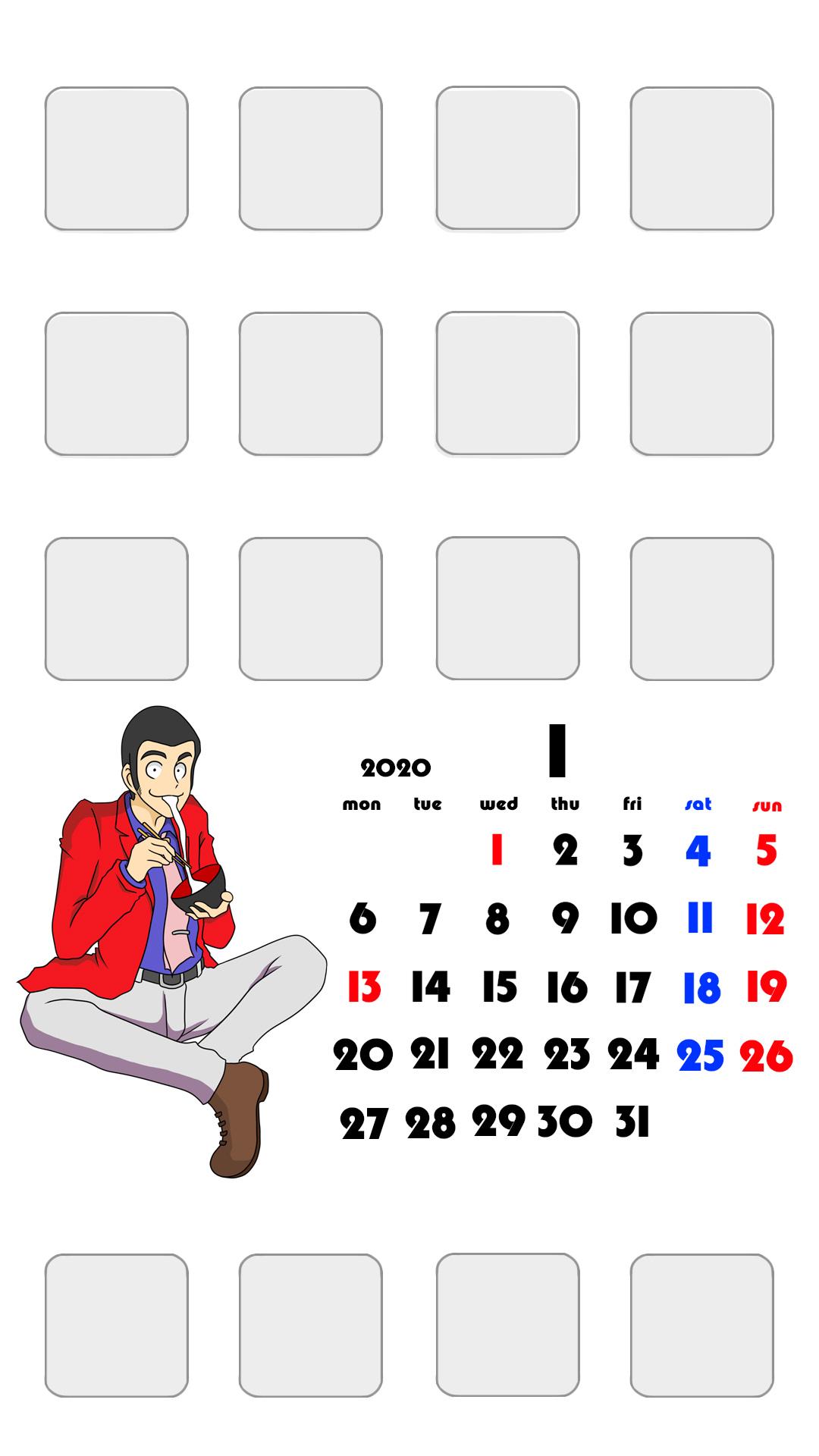待ち受けカレンダー スマホ壁紙 ルパン三世 iPhone用 月曜始まり