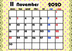 2020年月間カレンダー ガーリーデザイン 月曜始まり11月