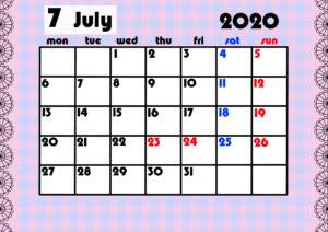 2020年月間カレンダー ガーリーデザイン 月曜始まり7月