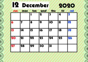 2020年月間カレンダー ガーリーデザイン 日曜始まり12月