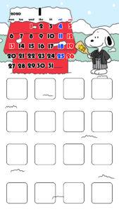 待ち受けカレンダー スマホ壁紙 スヌーピー iPhone用 月曜始まり