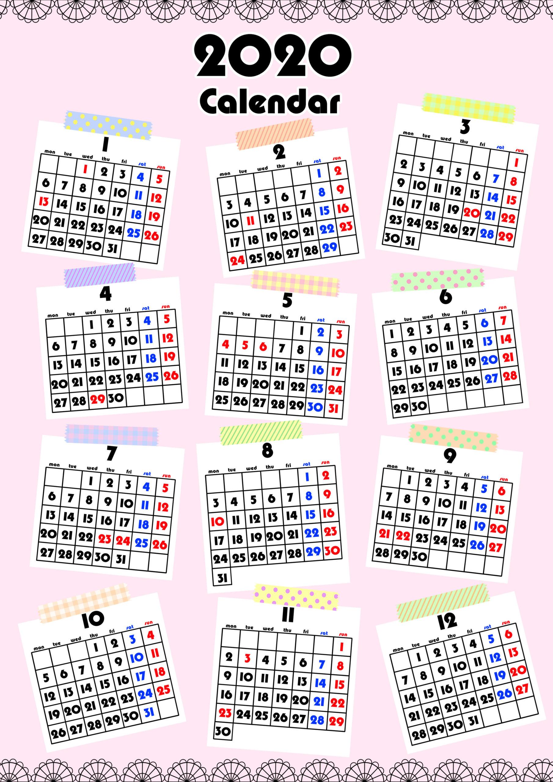 2020年 年間カレンダー ガーリーデザイン 月曜始まり
