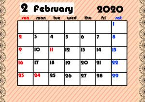 2020年月間カレンダー ガーリーデザイン 日曜始まり2月