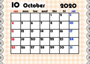2020年月間カレンダー ガーリーデザイン 日曜始まり10月