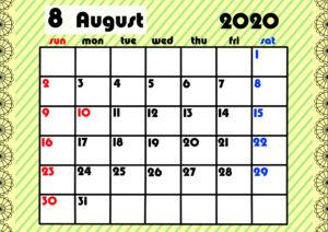 2020年月間カレンダー ガーリーデザイン 日曜始まり8月