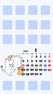 待ち受けカレンダー スマホ壁紙 ムーミン iPhone用 月曜始まり