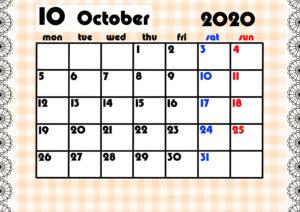 2020年月間カレンダー ガーリーデザイン 月曜始まり10月