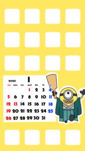 待ち受けカレンダー スマホ壁紙 ミニオンズ iPhone用 日曜始まり