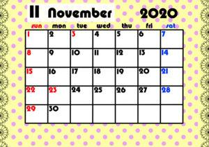 2020年月間カレンダー ガーリーデザイン 日曜始まり11月