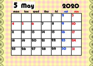 2020年月間カレンダー ガーリーデザイン 月曜始まり5月