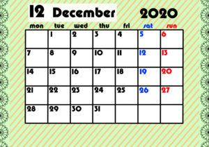 2020年月間カレンダー ガーリーデザイン 月曜始まり12月