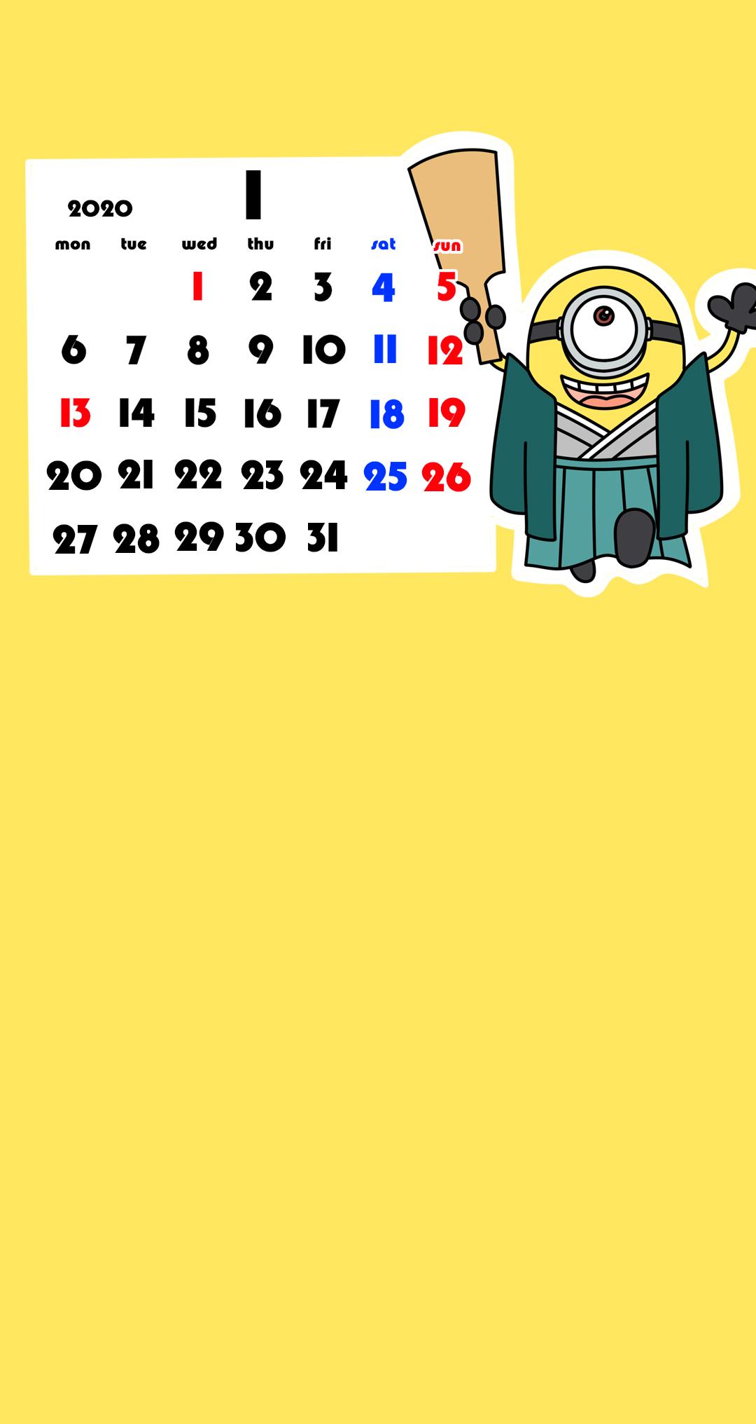 待ち受けカレンダー スマホ壁紙 ミニオンズ Android用 月曜始まり
