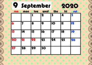 2020年月間カレンダー ガーリーデザイン 日曜始まり9月