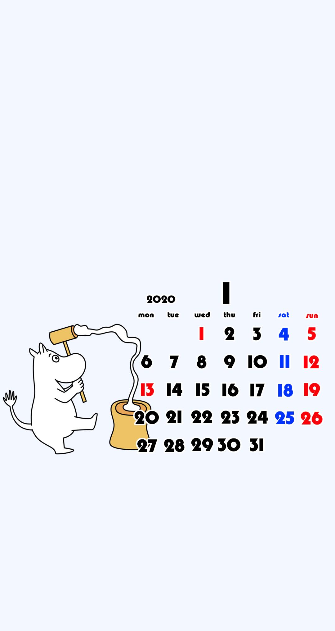 待ち受けカレンダー スマホ壁紙 ムーミン Android用 月曜始まり