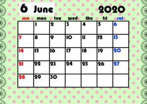 2020年月間カレンダー ガーリーデザイン 日曜始まり6月
