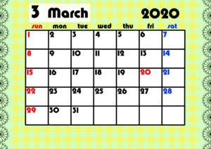 2020年月間カレンダー ガーリーデザイン 日曜始まり3月
