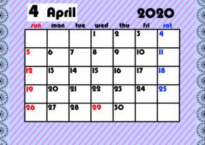 2020年月間カレンダー ガーリーデザイン 日曜始まり4月