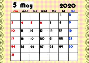 2020年月間カレンダー ガーリーデザイン 日曜始まり5月