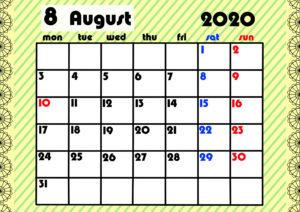 2020年月間カレンダー ガーリーデザイン 月曜始まり8月