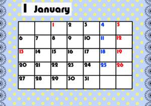 2020年月間カレンダー ガーリーデザイン 月曜始まり1月