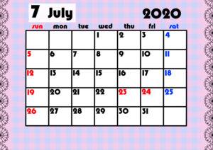 2020年月間カレンダー ガーリーデザイン 日曜始まり7月