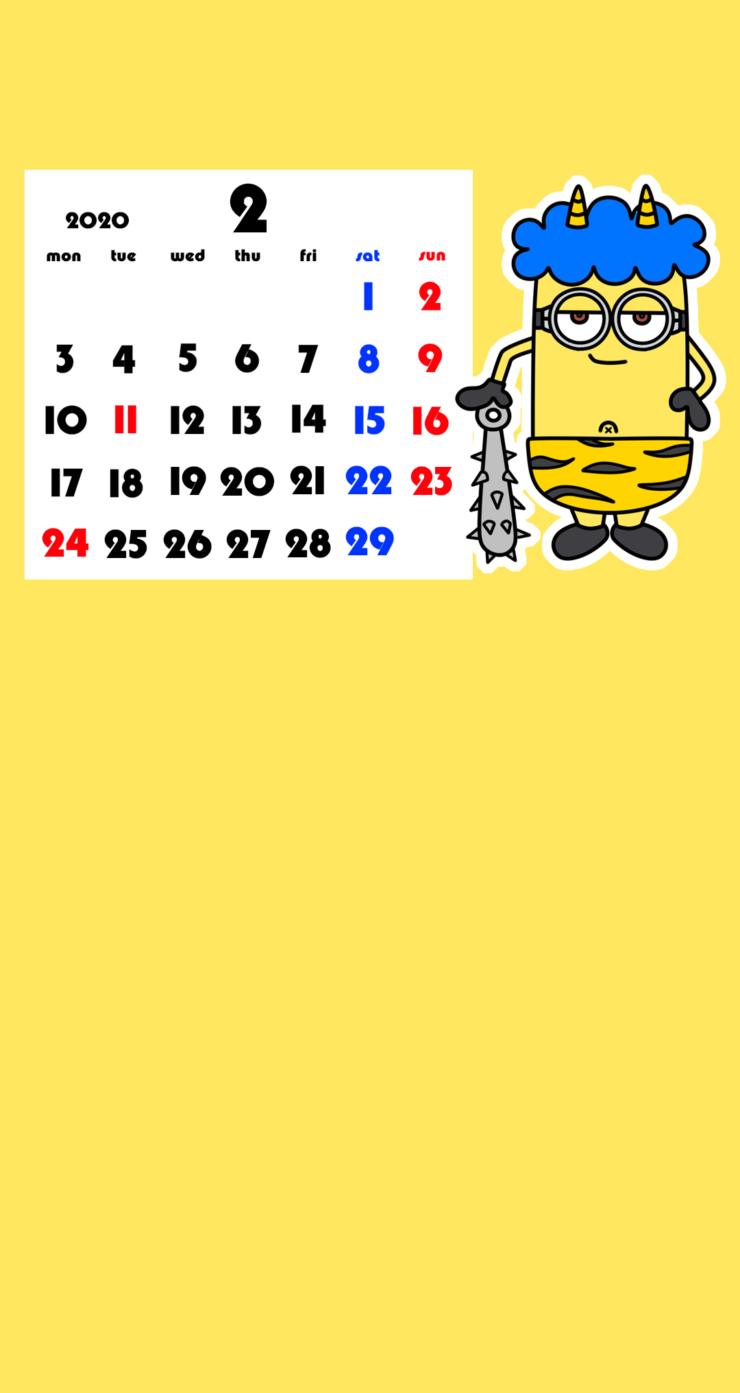 待ち受けカレンダー スマホ壁紙 ミニオンズ Android用 月曜始まり 2020年2月