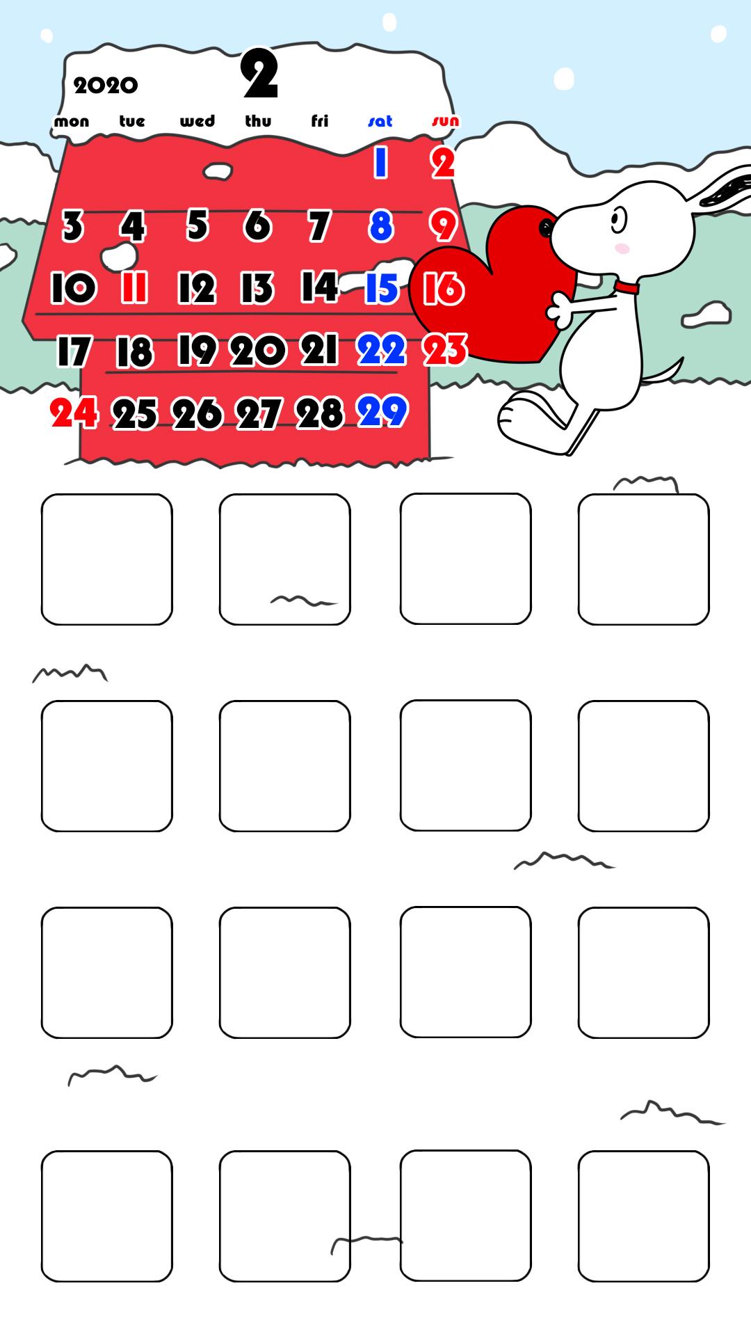 待ち受けカレンダー スマホ壁紙 スヌーピー iPhone用 月曜始まり 2020年2月