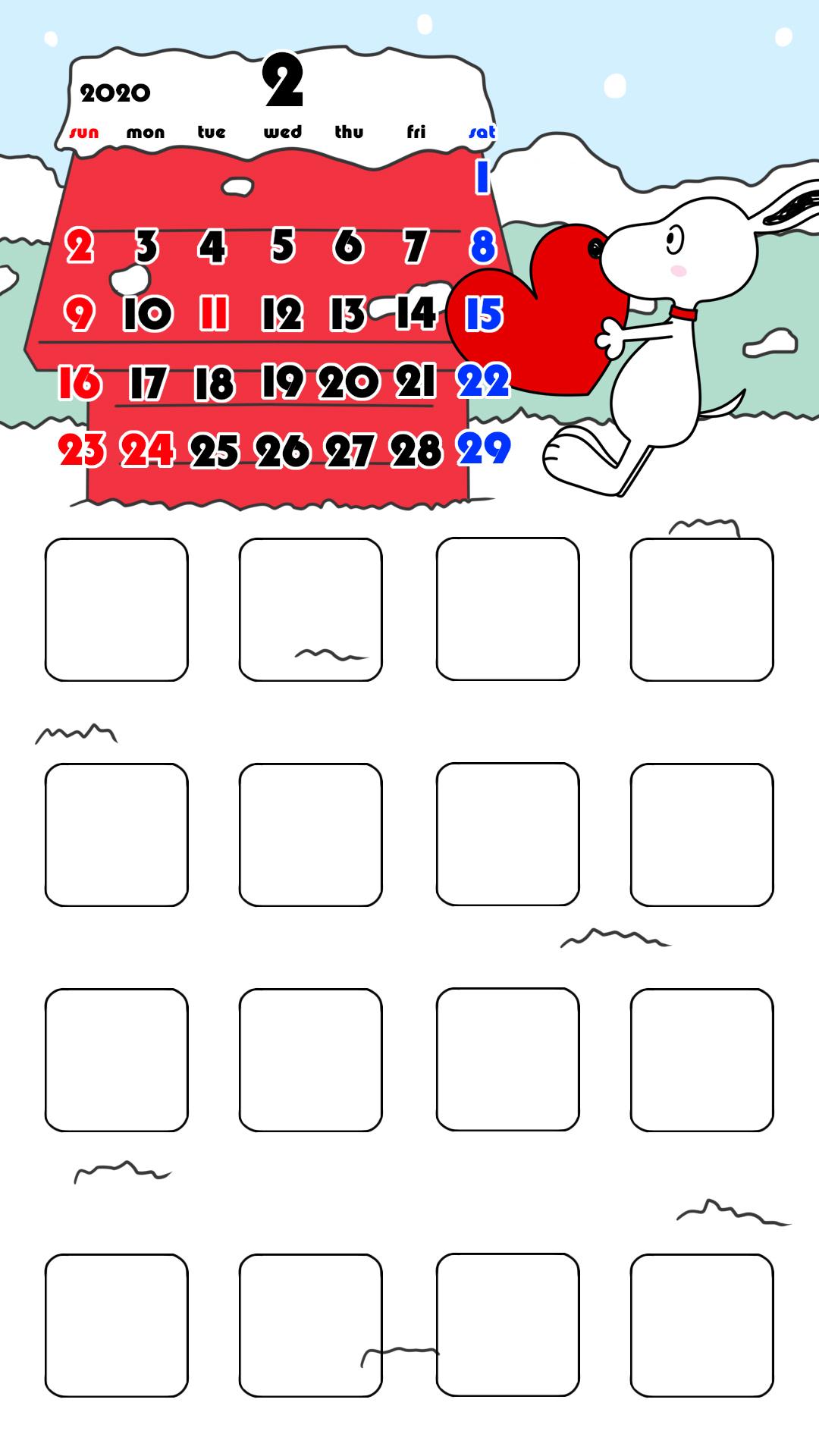 待ち受けカレンダー スマホ壁紙 スヌーピー iPhone用 日曜始まり 2020年2月
