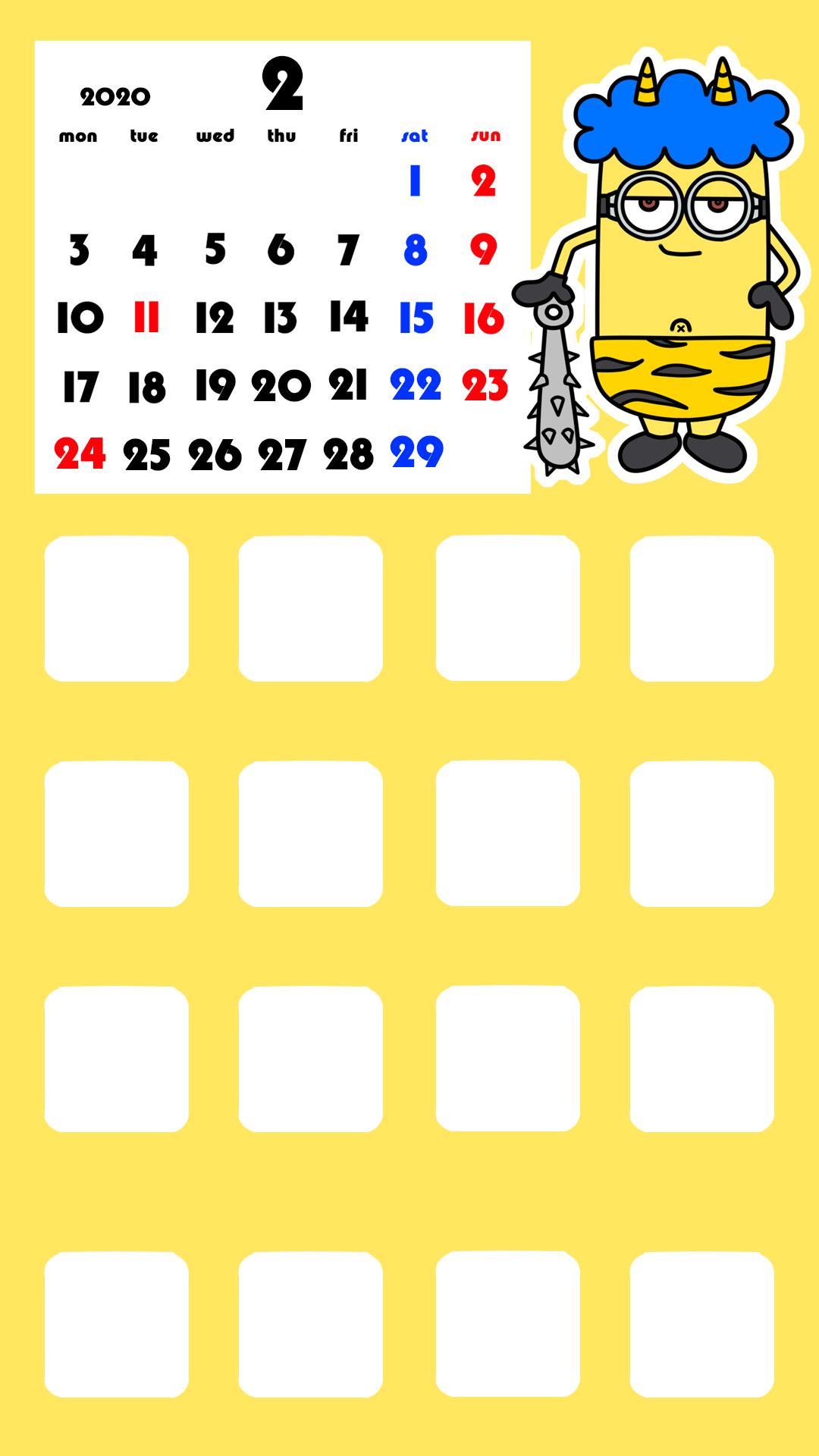 待ち受けカレンダー スマホ壁紙 ミニオンズ iPhone用 月曜始まり 2020年2月