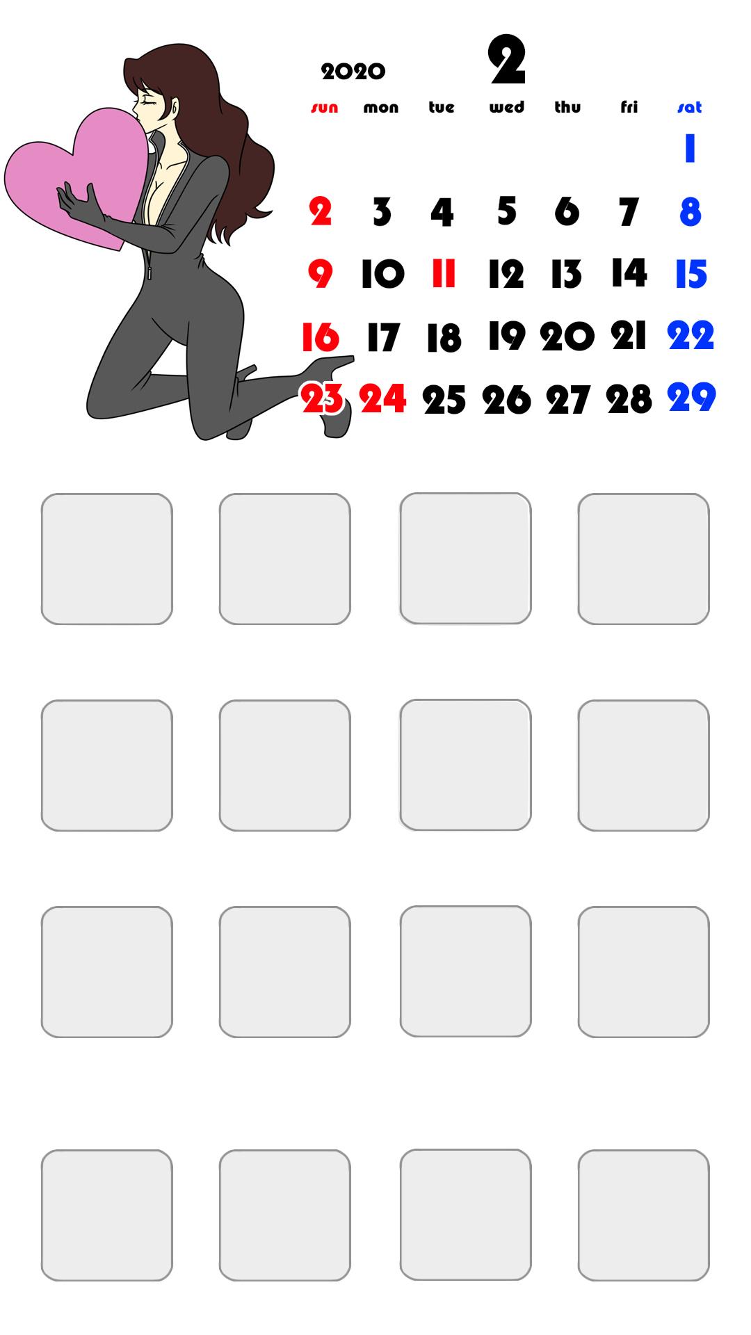 待ち受けカレンダー スマホ壁紙 ルパン三世 iPhone用 日曜始まり 2020年2月