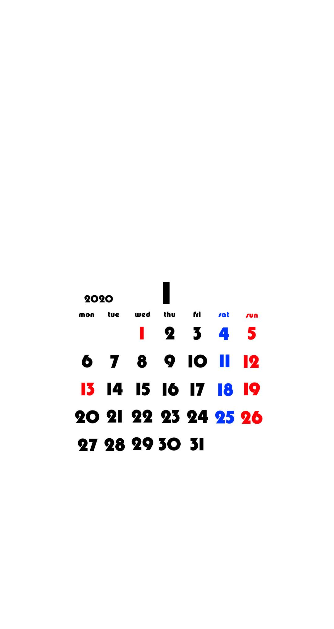 待ち受けカレンダー スマホ壁紙 Android用 月曜始まり