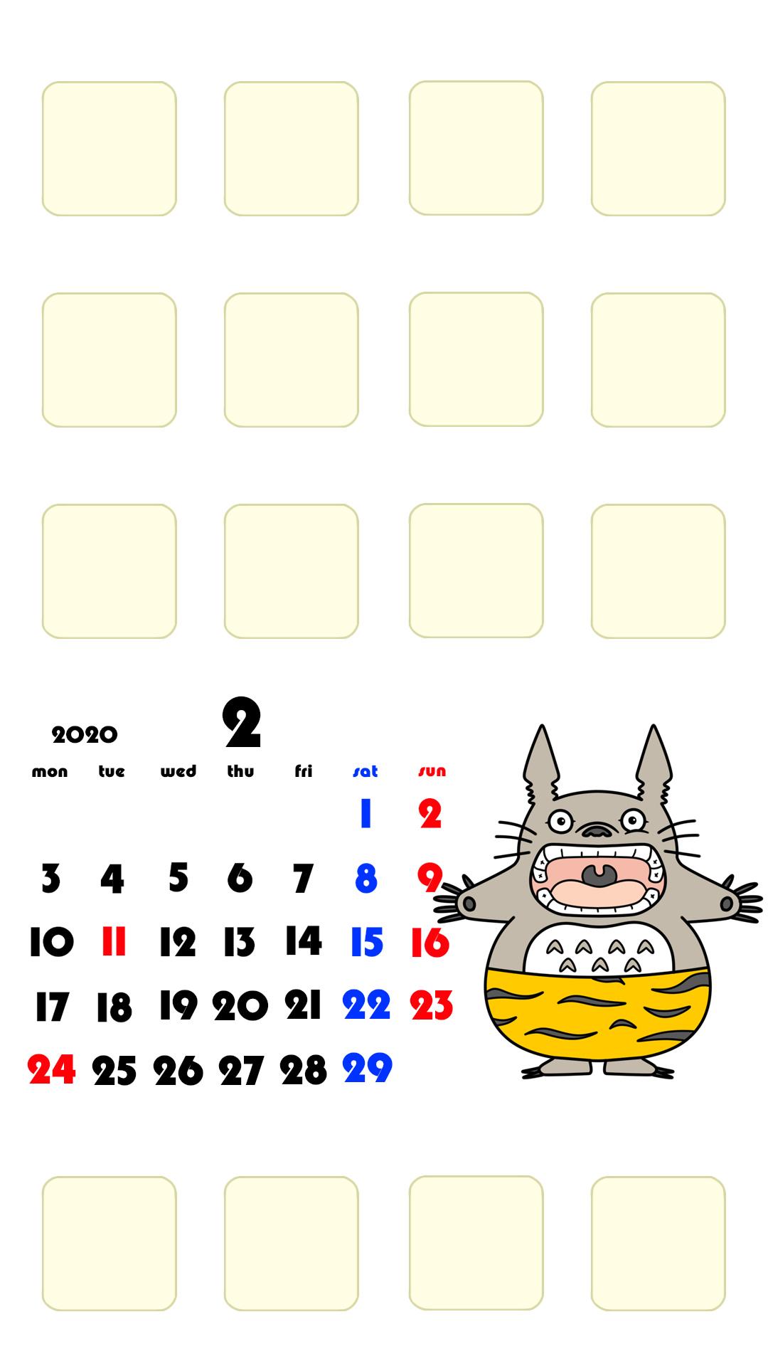 待ち受けカレンダー スマホ壁紙 となりのトトロ iPhone用 月曜始まり 2020年2月