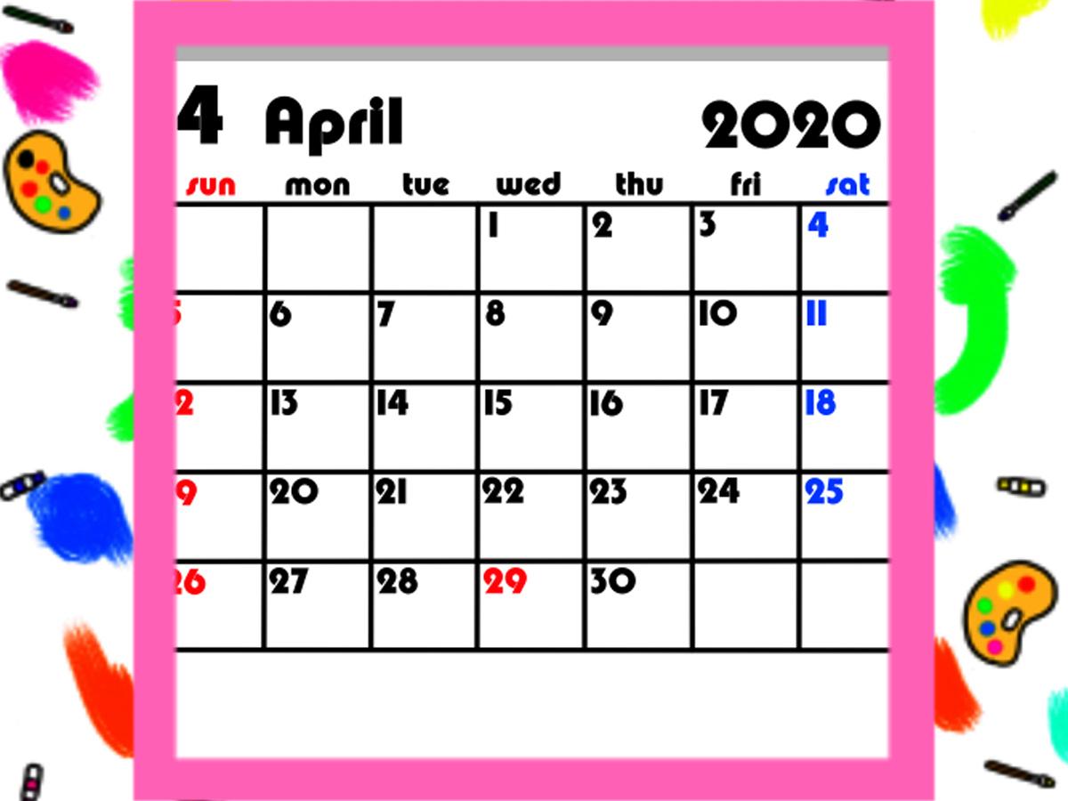 令和2年4月始まりカレンダー 背景透過シンプル 月間日曜始まり 無料ダウンロード・印刷