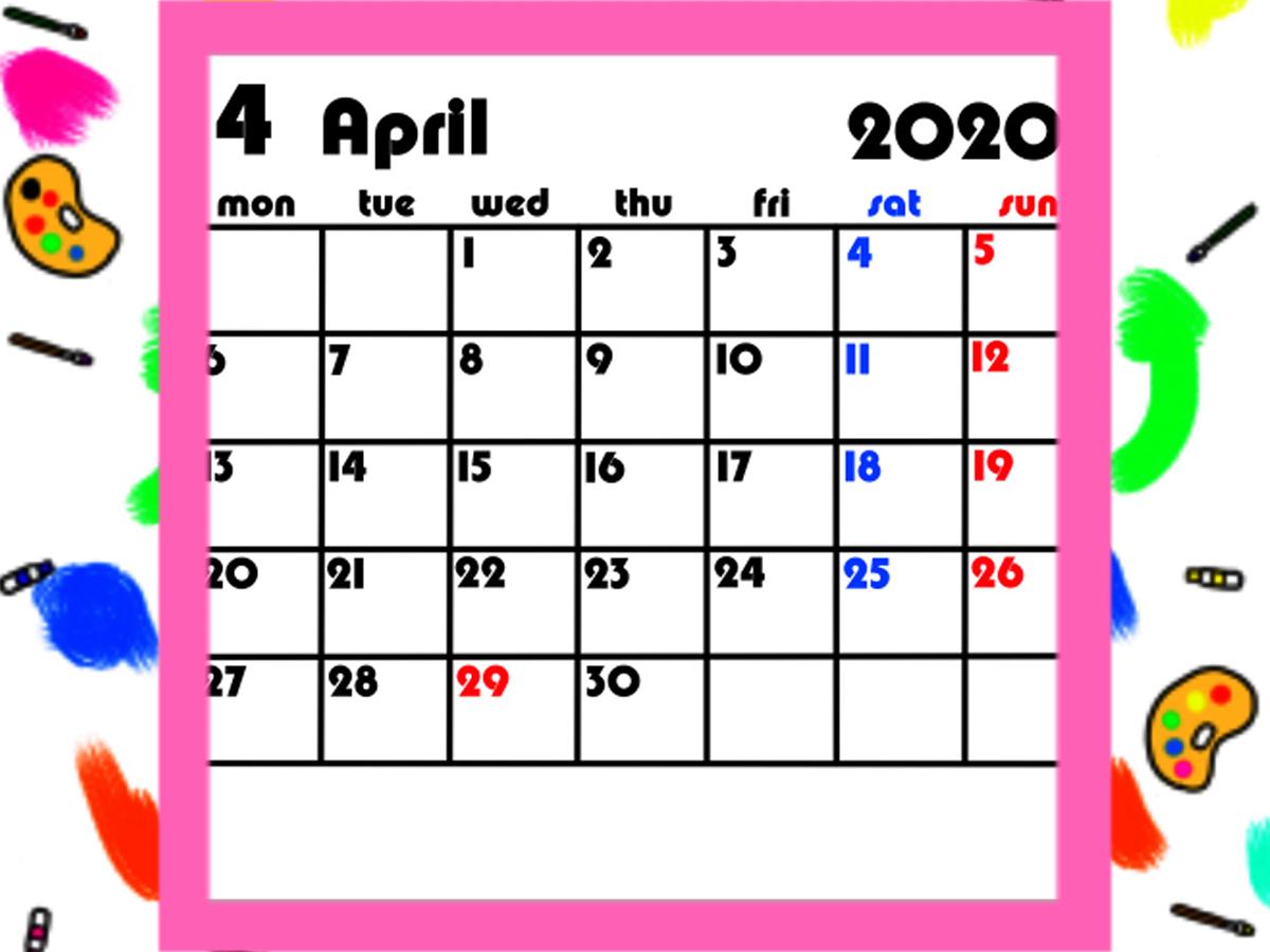 2020年4月始まりカレンダー 背景透過 月間月曜始まり 無料ダウンロード・印刷