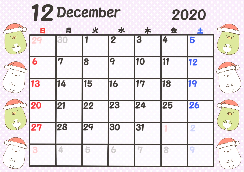 すみっこぐらしカレンダー 2020年4月始まり 月間日曜始まり 令和2年12月
