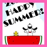 スヌーピー風暑中見舞い2020年 無料テンプレート 印刷してご自由にお使いください