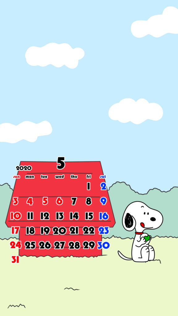 スヌーピー風 2020年5月 スマホ壁紙待ち受けカレンダー iPhone用