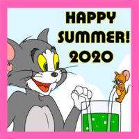 トムとジェリー風暑中見舞い2020年 無料テンプレート 印刷してご自由にお使いください